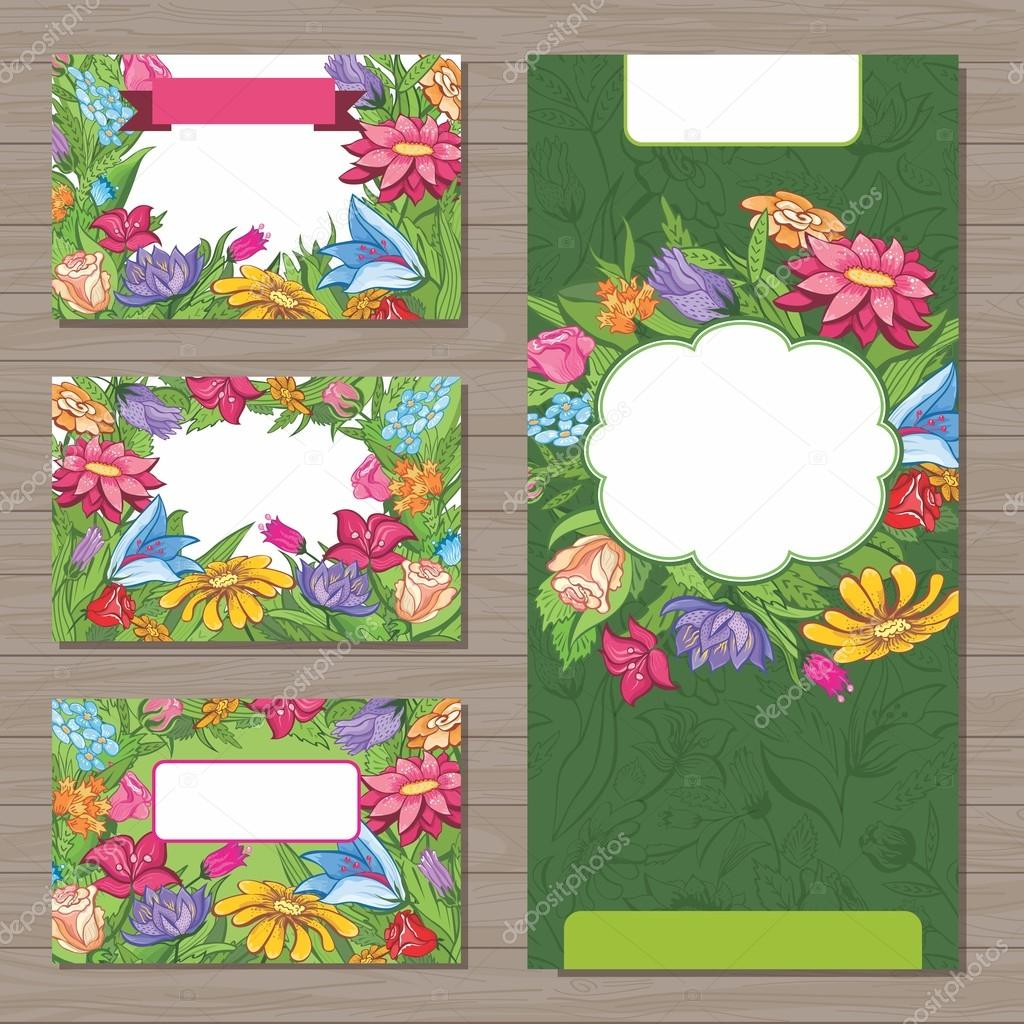 Design templates with spring flowers for business