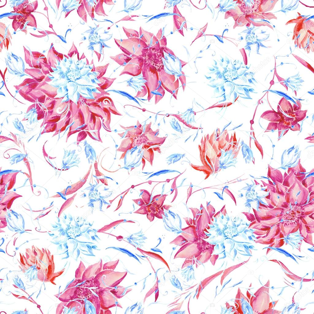 Blue and pink watercolor pattern