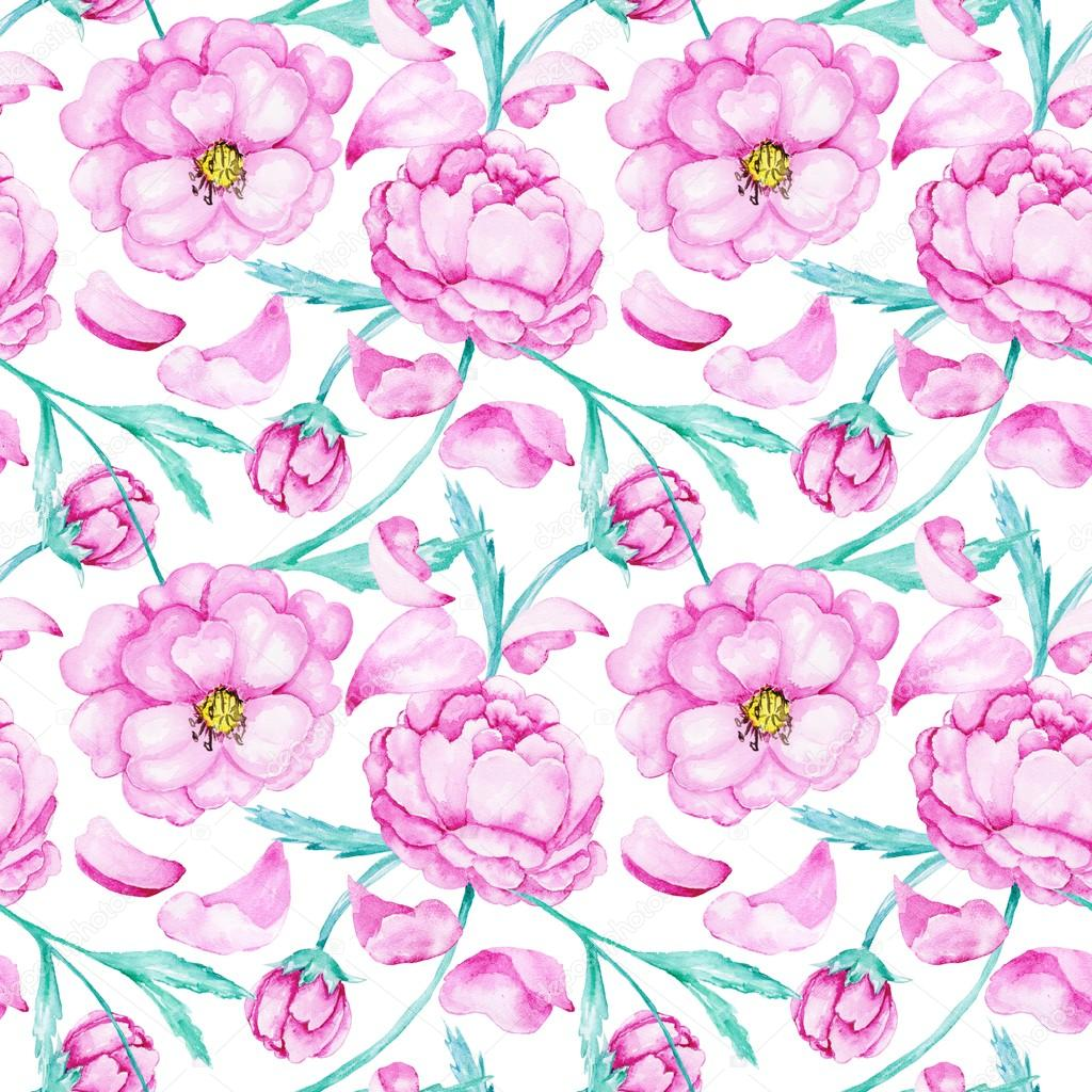 Watercolor pattern with peony