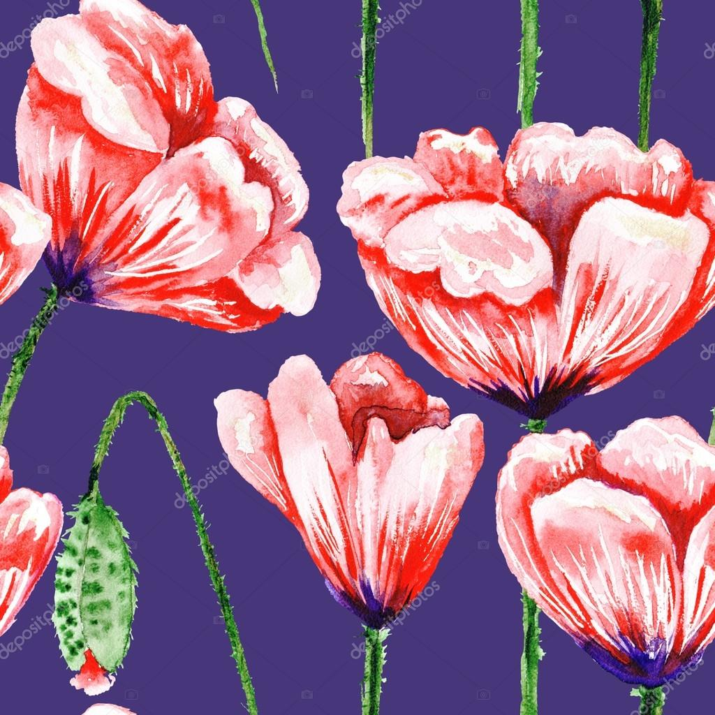 Blue pattern with watercolor poppies