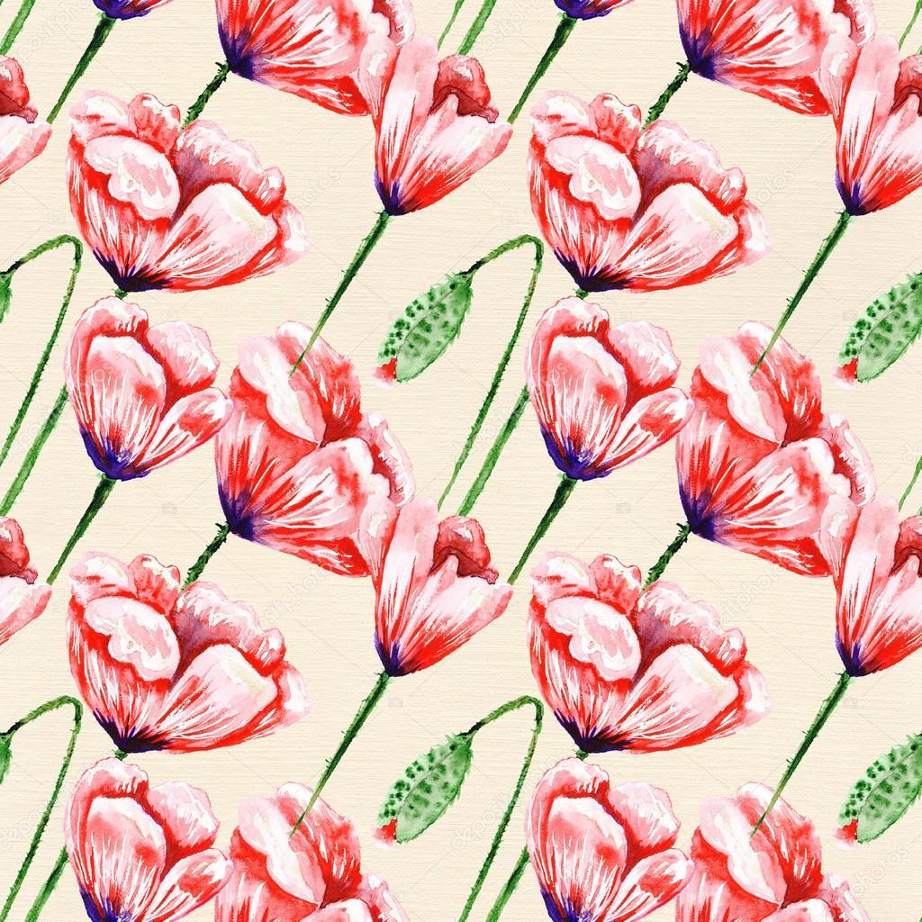 Vintage poppy pattern on linen watercolor paper