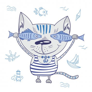 Funny Vector Cat with Fishes