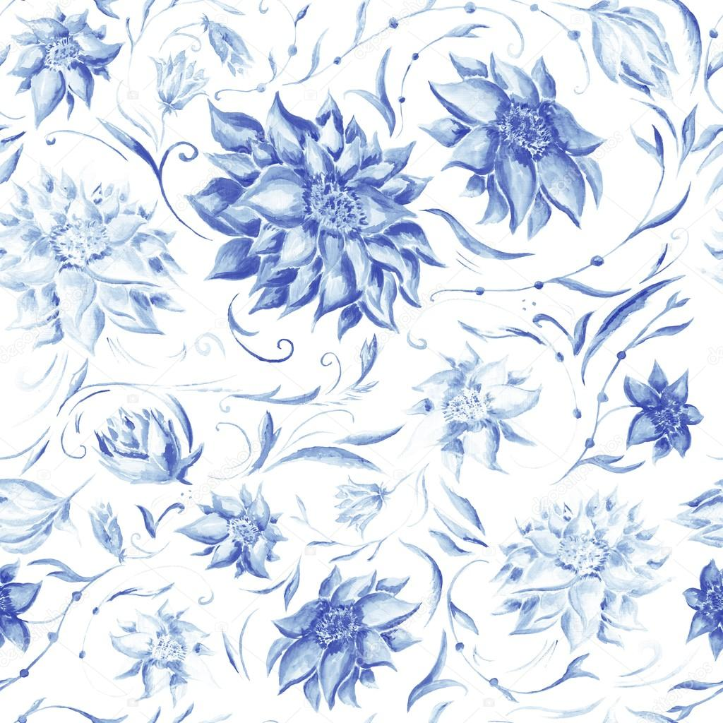 Elegant Pattern with Indigo Flowers