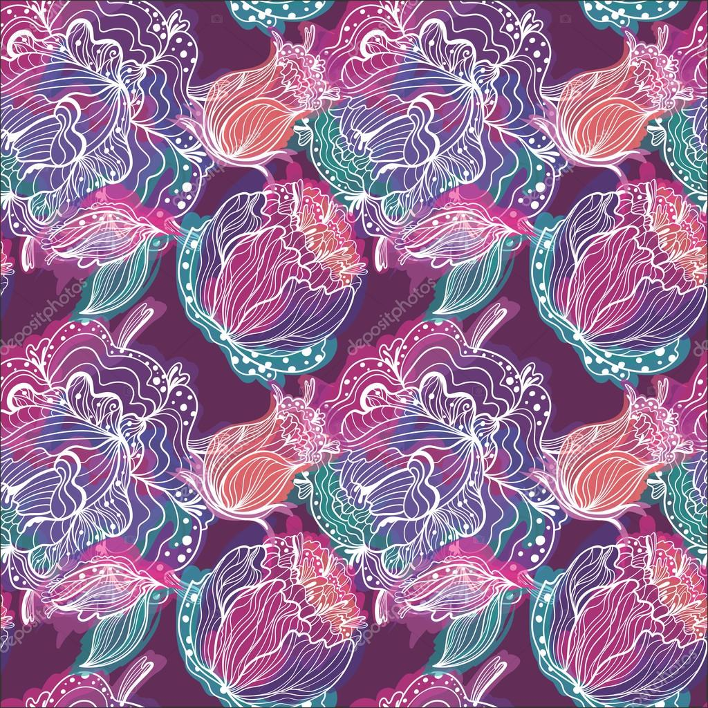 Electric Flower Vector Pattern