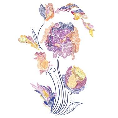 Elegant Vector Vignette with Sketch Flowers