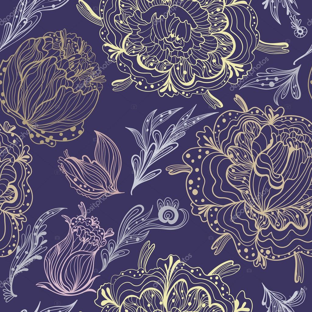 Sketch Ornamental Vector Floral Pattern