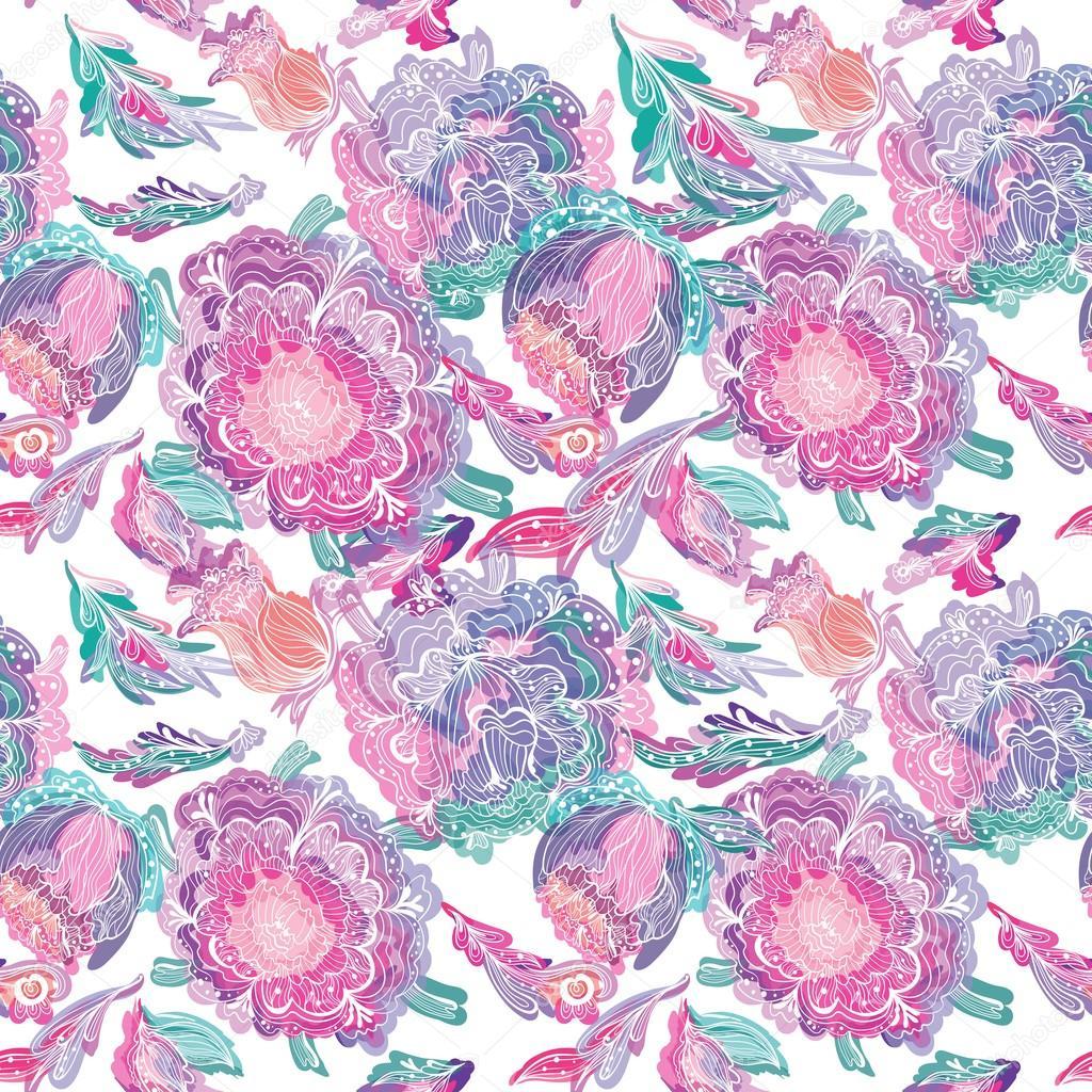 Paradise Tileable Texture with Floral Motif