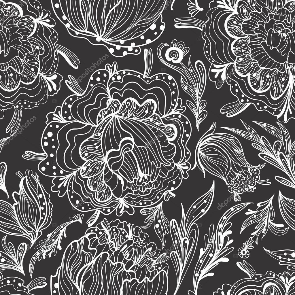Sketch Ornamental Floral Pattern