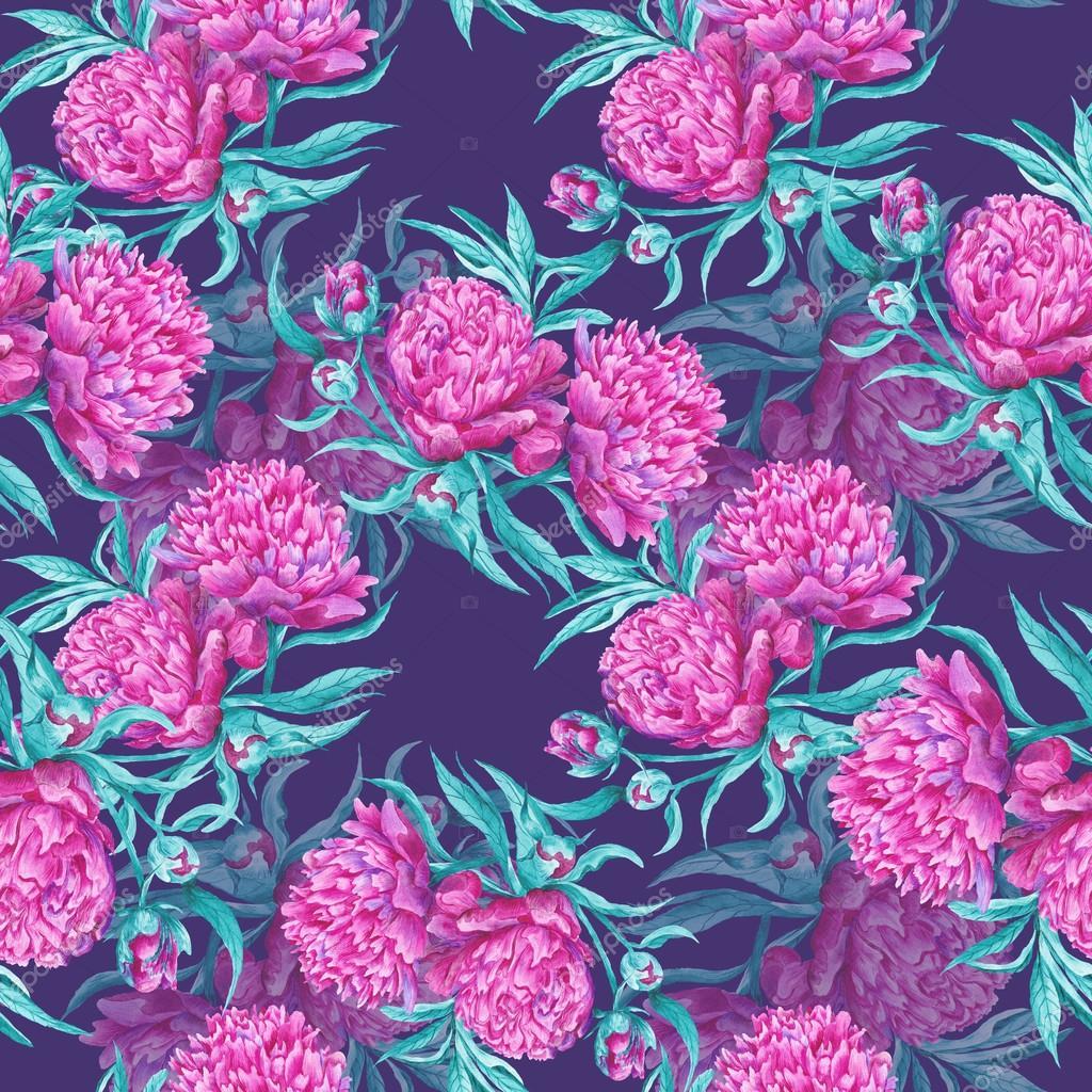 Dark Watercolor Peony Pattern