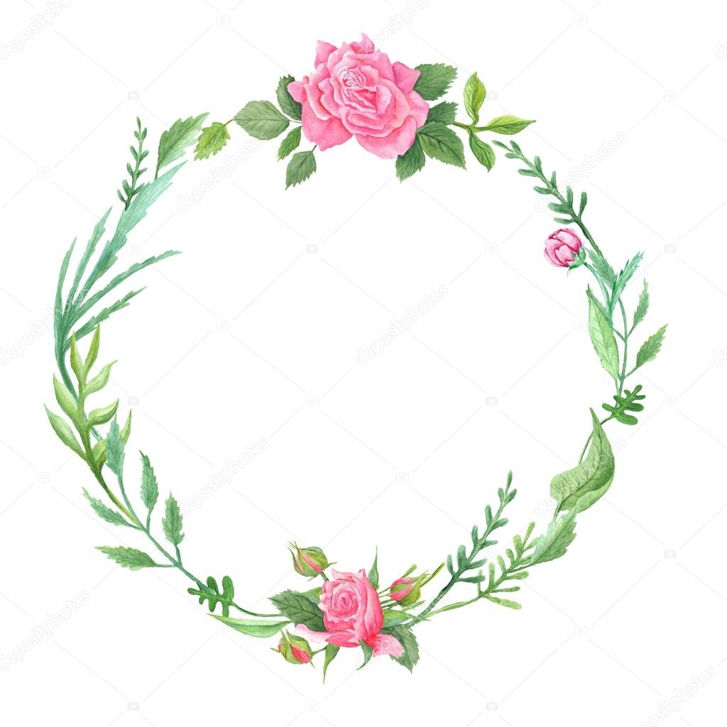 Spring Green Watercolor Wreath with Roses