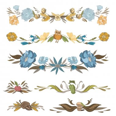 Vintage Floral Vector Vignettes Set