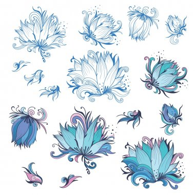 Lily Flower Design Elements Set