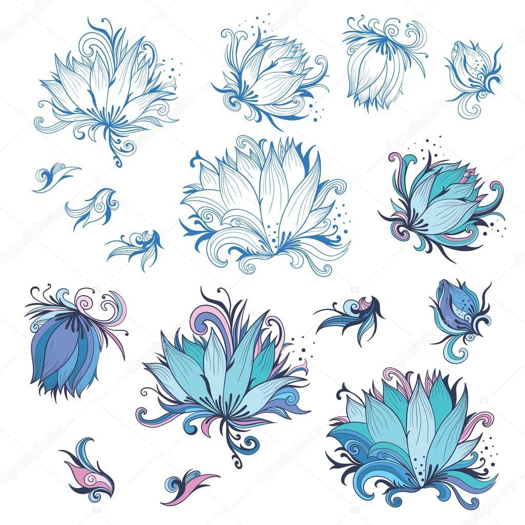 Diseño Flor De Lis Conjunto De Elementos De Diseño Flor De Lis