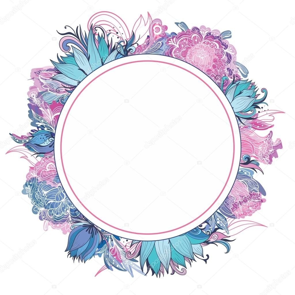 Tender Pink and Blue Vector Floral Frame