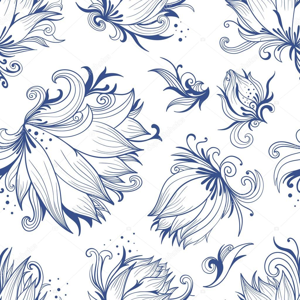 Lotus Sketch Vector Pattern