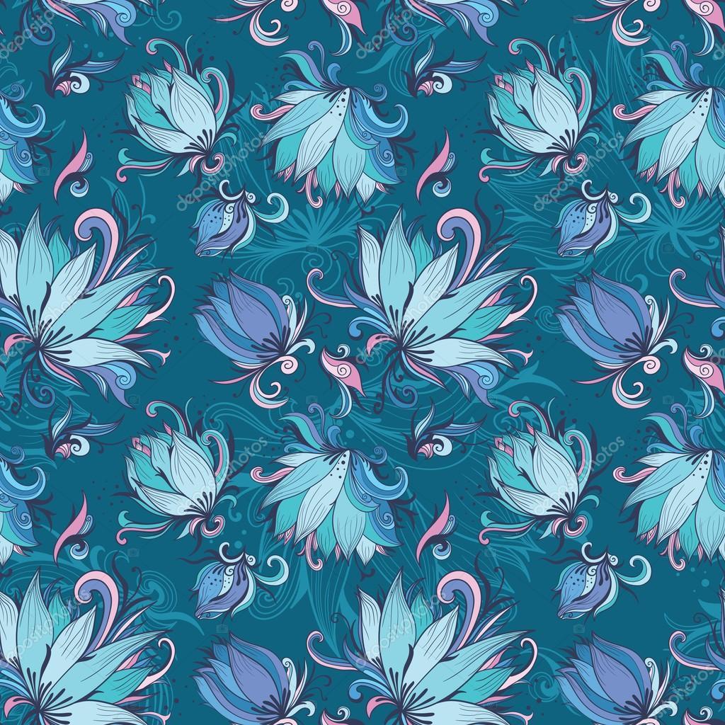 Blue Lotus Vector Pattern