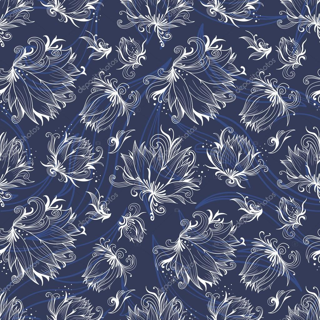 Vector Lily Outline Pattern