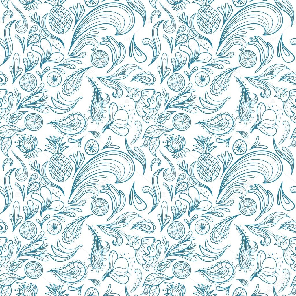 Tropical Outline Vector Pattern