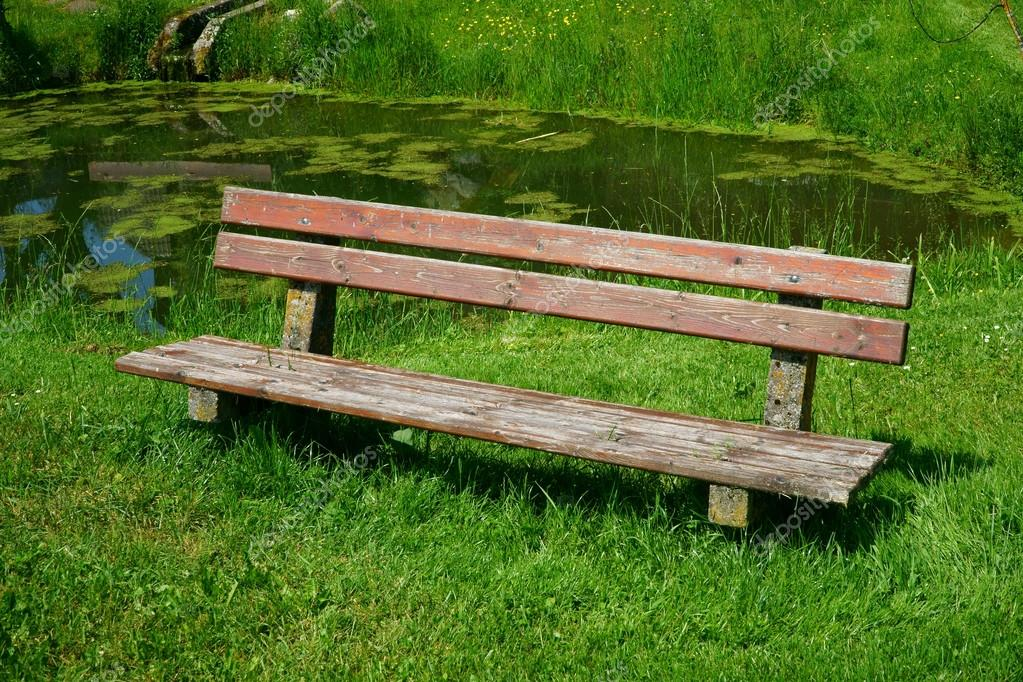 Bon Old Wooden Bench Seat In The Garden With A Pond In The Background U2014 Photo  By TKphotography