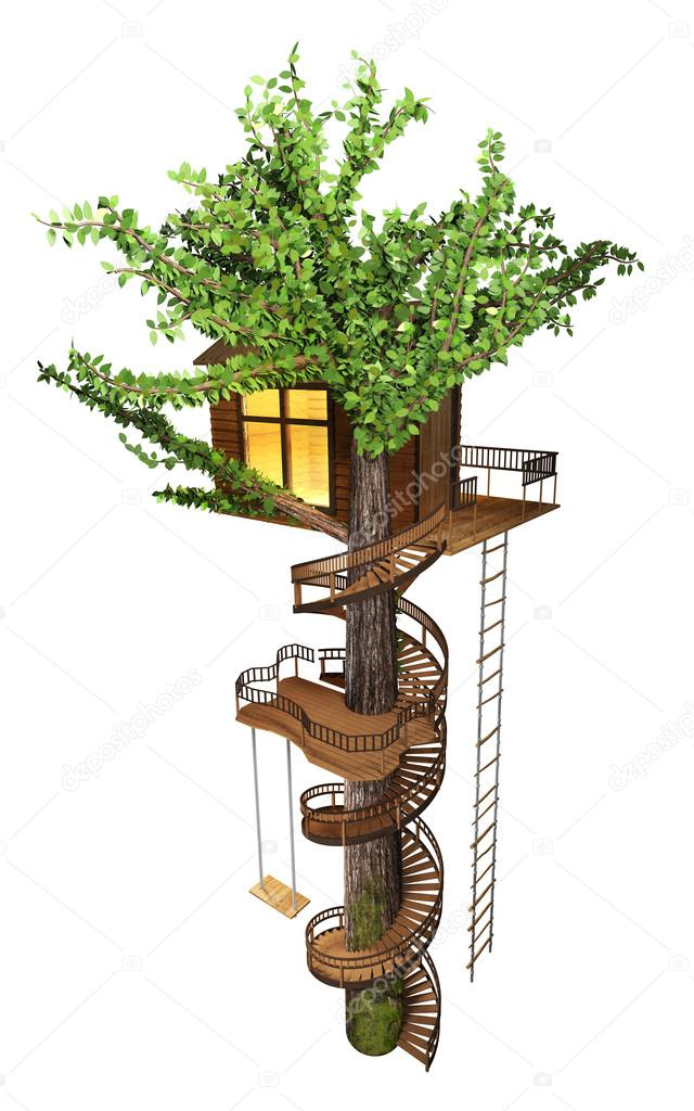 Tree House With A Spiral Staircase, Swing, Rope Ladder. 3D Illustration U2014  Photo By Uberxoma