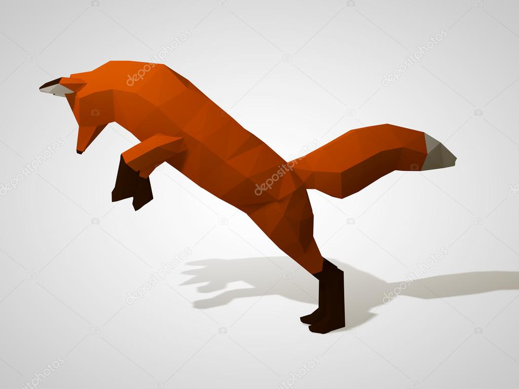 3D illustration of origami fox on his hind legs.
