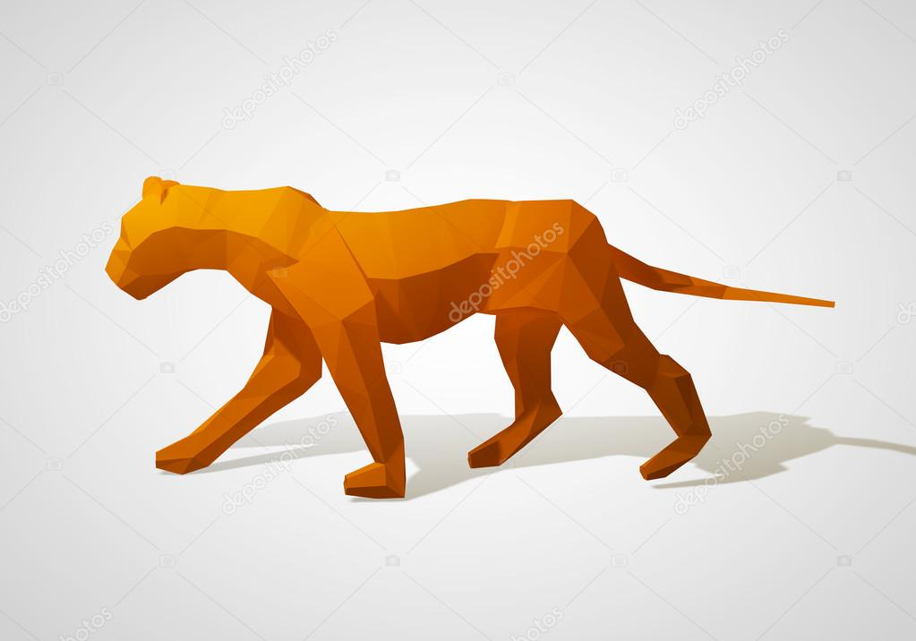 3D illustration of origami lion. Polygonal lion. Walking geometric style lion.