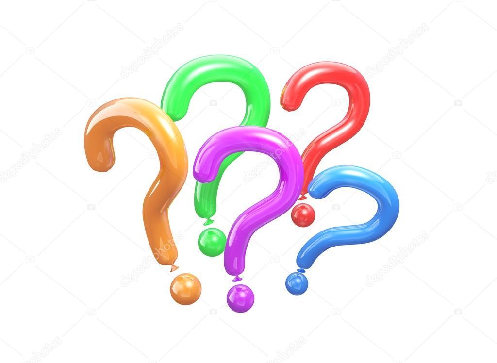 Farbige Luftballons in Form einer Frage. 3D Illustration ein ...