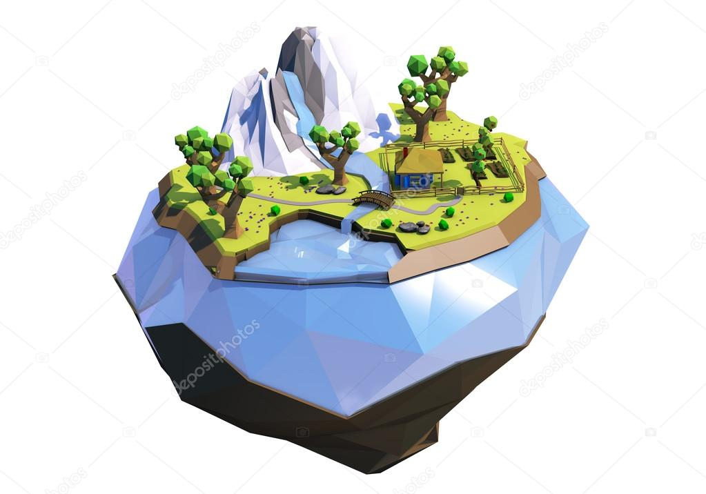 3d illustration of polygonal flying island with mountains, trees, river and ukrainian house, isolated on white. Low poly landscape.