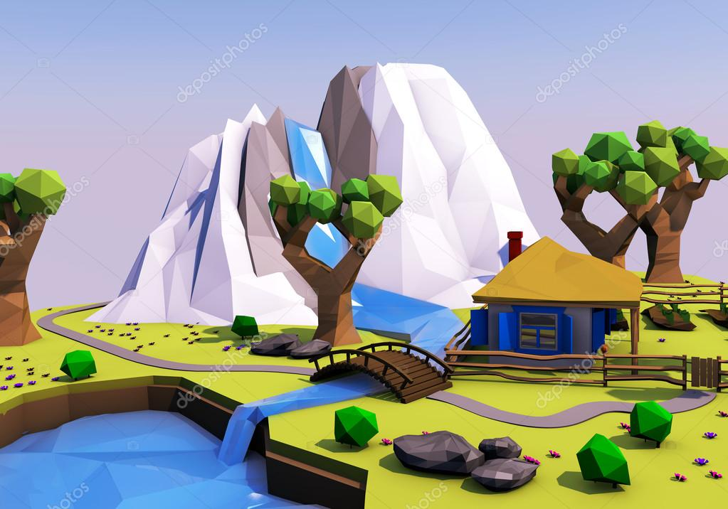 Faible paysage g om trique polygonale avec montagnes for Paysage design