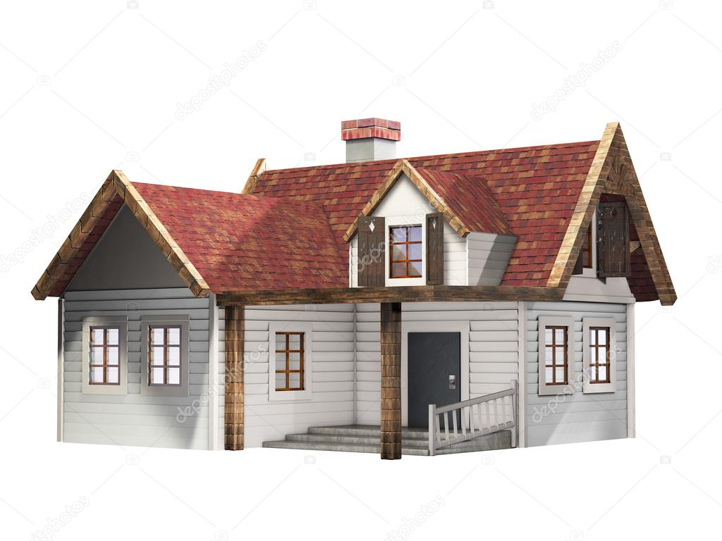 Casa de revestimiento de tablilla peque a con techo rojo for Casas con tablillas