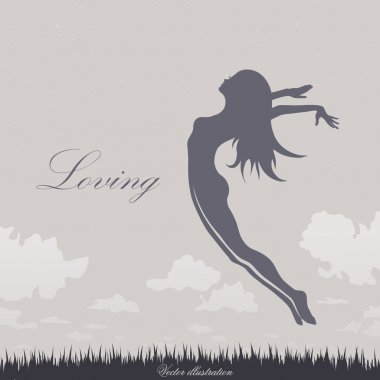 Jumping girl on the grass in blue clip art vector