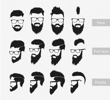 Hipster male face style set