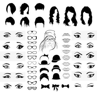 Woman face style elements set
