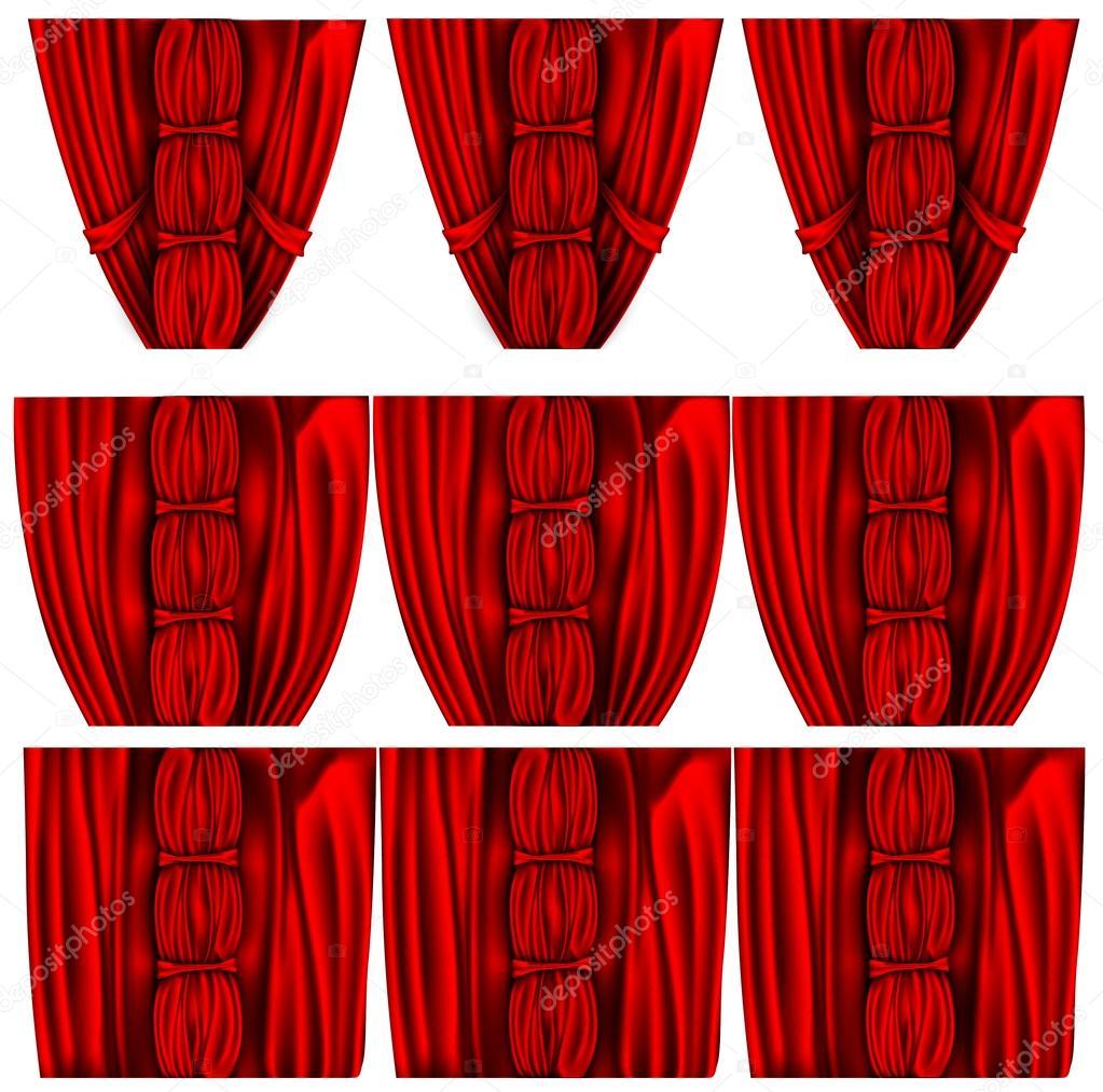 Rode zijden gordijnen set — Stockvector © PanaceaDoll #72106639
