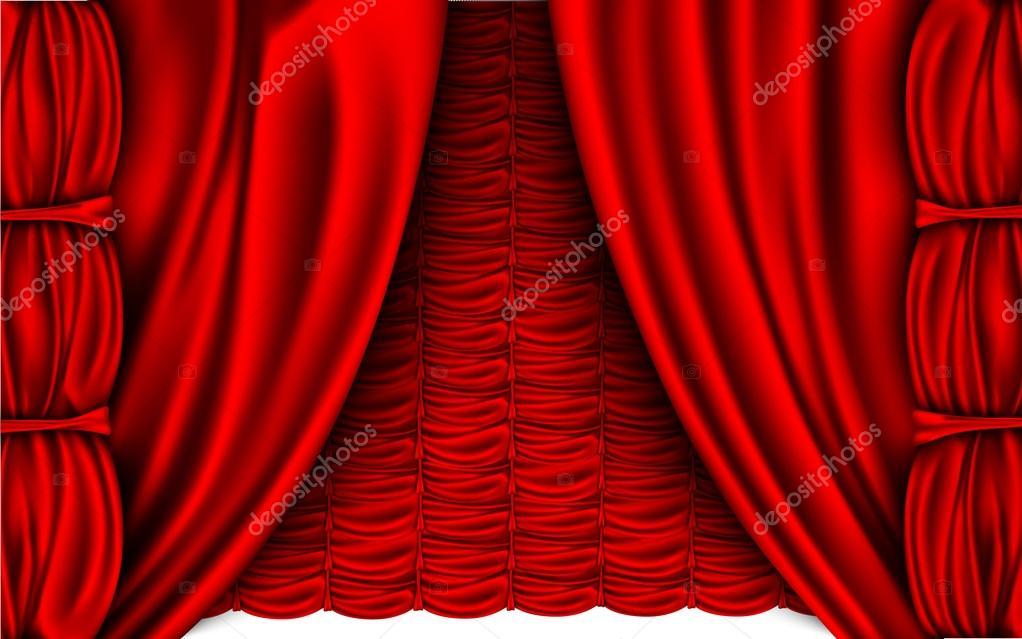 rode zijden gordijnen — Stockvector © PanaceaDoll #72106671
