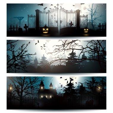 Vector set of Halloween banners