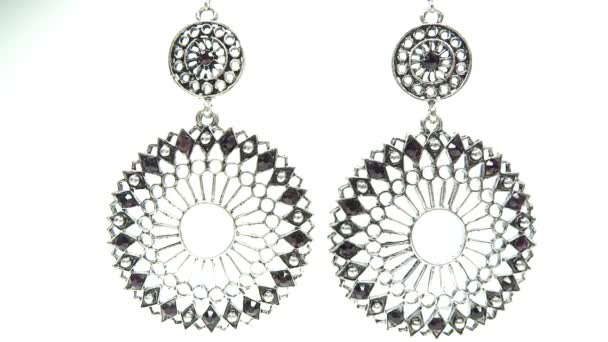 Jewelery earrings with bright crystals