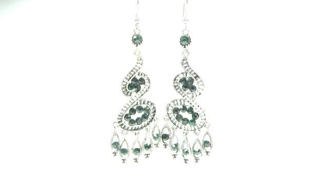 Šperky náušnice s zelený Smaragdový klenot jasným krystaly