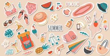 Set of cute vector summer stickers for daily planner. Collection of scrapbooking elements for beach party:cocktail,bag,ice cream,bikini,beach hat, watermelon.Tropical vacation.Summertime doodle icons pack icon