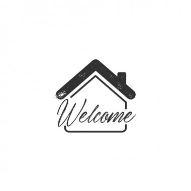 Welcome home lettering, vector typography design element for greeting cards, posters and print invitations. Stock vector illustration isolated