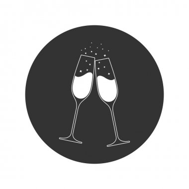 Clink glasses champagne graphic icon. Cheers with two champagne glasses sign in the circle isolated on white background. Vector illustration icon