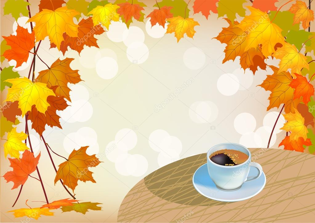 Banner autumn drink a cup of coffee
