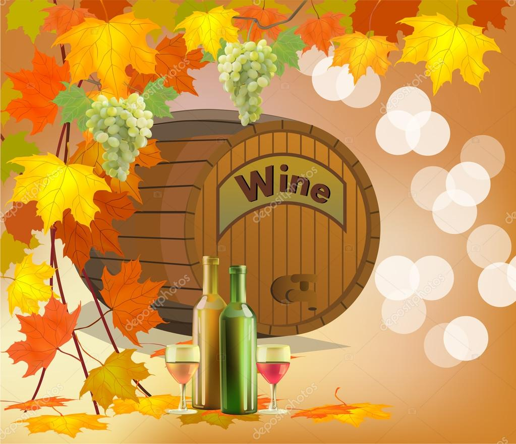 Banner with a barrel of wine in bottles and glasses