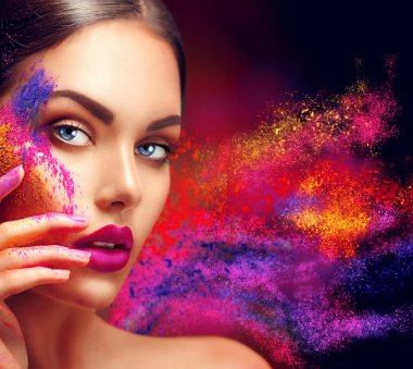 woman with bright color makeup