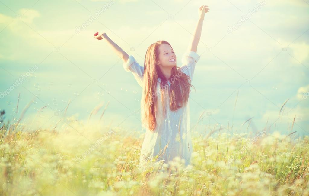 Girl  enjoying nature