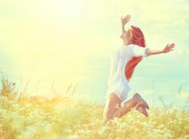 Beauty model girl in white dress jumping on summer field stock vector