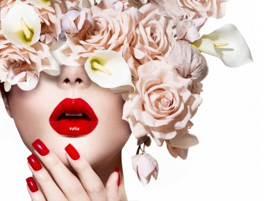 Vogue style model girl face with roses. Red Sexy Lips and Nails stock vector