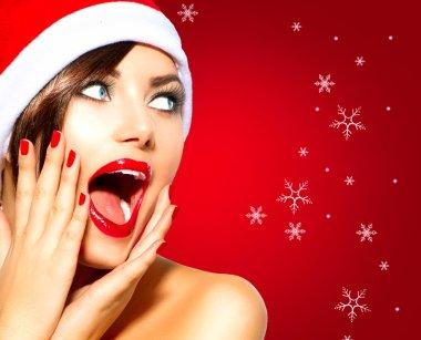 Christmas Surprised Winter Woman.