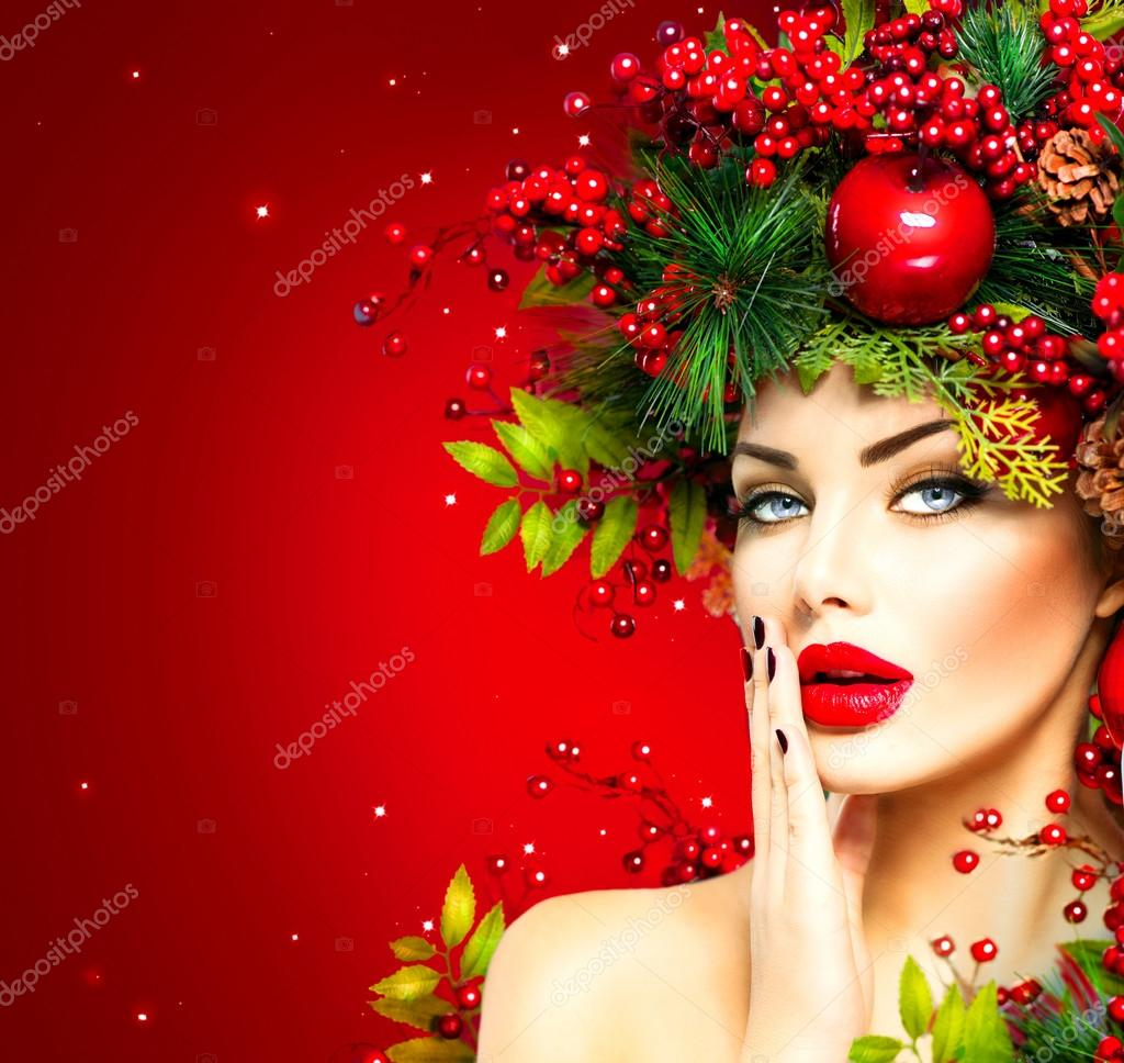 Christmas fashion model woman.