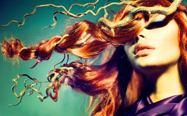 Model with Curly Red Hair